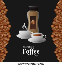 international coffee day poster with pot product and cups