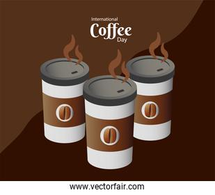 international coffee day poster with three plastic containers