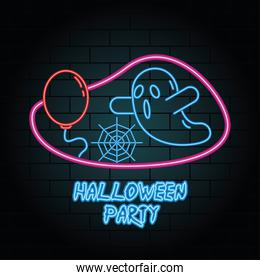 halloween party neon light of ghost and balloon helium