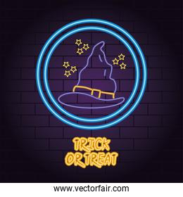 trick or treat neon light of witch hat