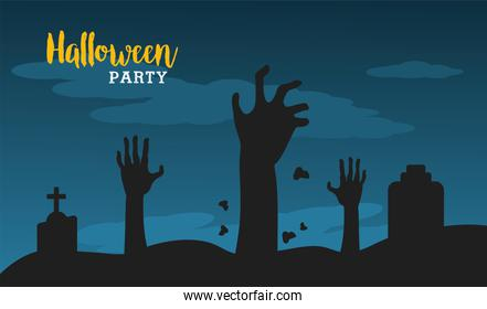 happy halloween with deaths hands in cemetery night scene