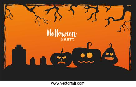 happy halloween celebration with pumpkins in cemetery