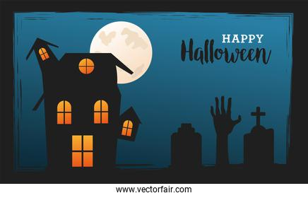happy halloween celebration with house haunted in cemetery