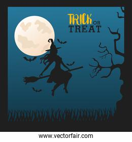 happy halloween celebration with witch flying in broom and moon night scene