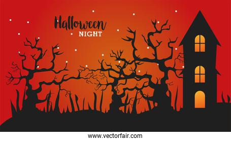 happy halloween celebration with house haunted and trees scene