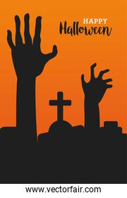 happy halloween celebration with deaths hands in cemetery scene