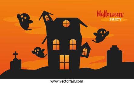 happy halloween celebration with house haunted and ghosts
