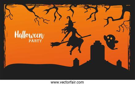 happy halloween celebration with witch flying in broom and ghost