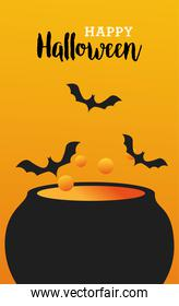 happy halloween celebration with witch cauldron and bats scene