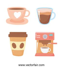 international day of coffee maker disposable ceramic cups icons