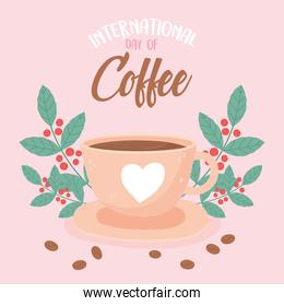international day of coffee delicious beverage fresh seeds leaves