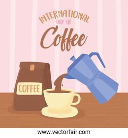 international day of coffee, kettle pouring on cup and package product