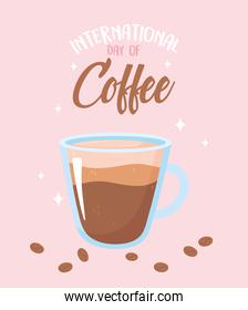international day of coffee glass cup and grains poster