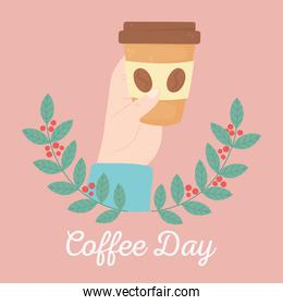 international day of coffee, hand holding disposable cup branches seeds emblem