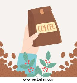 international day of coffee, hand holding package, branches and grains card