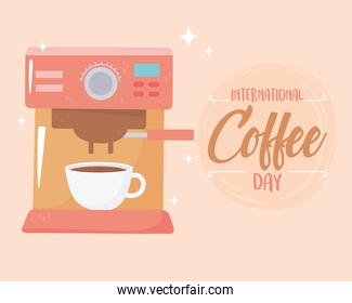 international day of coffee, machine maker beverage and cup