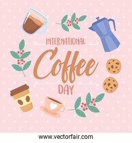 international day of coffee, typography kettle cookies cups and branches tree