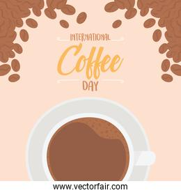 international day of coffee, top view cup seeds product card