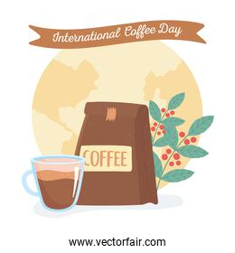 international day of coffee, package cup and branches with seeds world background