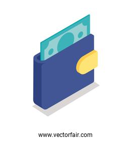 wallet with bill isometric line style icon vector design