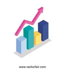 Bars chart with arrow isometric line style icon vector design