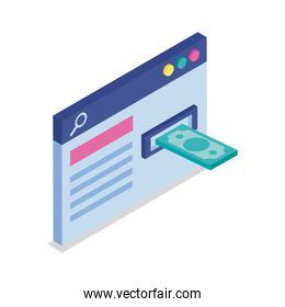 webpage with bill isometric line style icon vector design