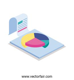 Pie chart in document isometric line style icon vector design