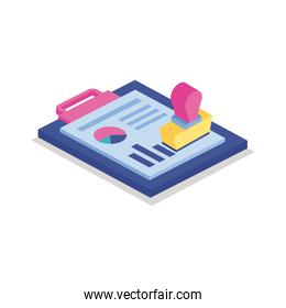 Bars chart in checklist with seal isometric line style icon vector design
