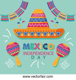 mexico independence day celebration lettering with mariachi hat and maracas