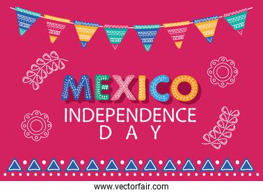 mexico independence day  lettering with flowers and garlands