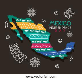 mexico independence day celebration lettering with map and flowers