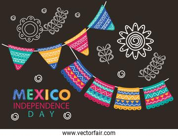 mexico independence day celebration lettering with flowers and garlands