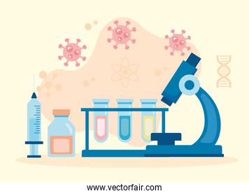 microscope laboratory tool with tubes test vaccine research