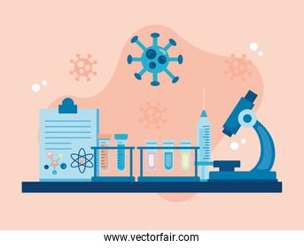 microscope laboratory tool with checklist and covid19 particles vaccine research