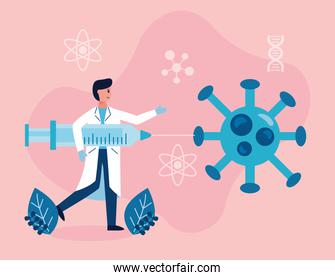 male scientific with injection and covid19 particle vaccine research