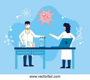 couple of scientifics wotking in laboratory with laptop vaccine research