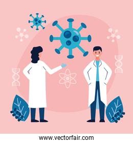 couple of scientifics and covid19 particles vaccine research