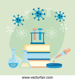 covid19 particles with books and laboratory equipment vaccine research
