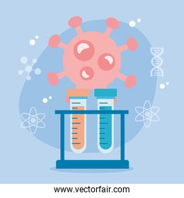 covid19 particle with tubes test holder vaccine research