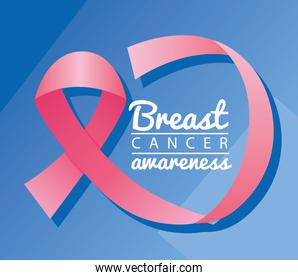 breast cancer campaign lettering with pink ribbon in blue background