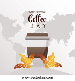 international coffee day celebration with plastic container and earth maps