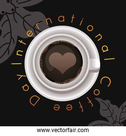 international coffee day celebration with cup and heart air view
