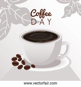 international coffee day celebration with cup and beans
