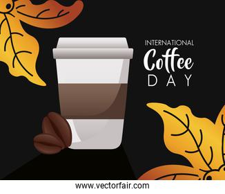 international coffee day celebration with plastic container and leafs