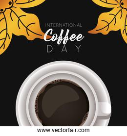 international coffee day celebration with cup and leafs air view