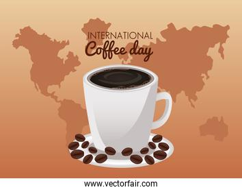 international coffee day celebration with cup and beans in planet earth
