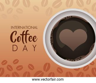 international coffee day celebration with heart in cup air view