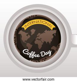 international coffee day celebration with earth planet maps in cup air view