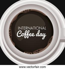 international coffee day celebration with cup and lettering air view