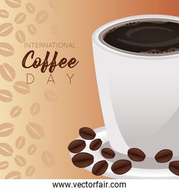 international coffee day celebration with cup and beans pattern
